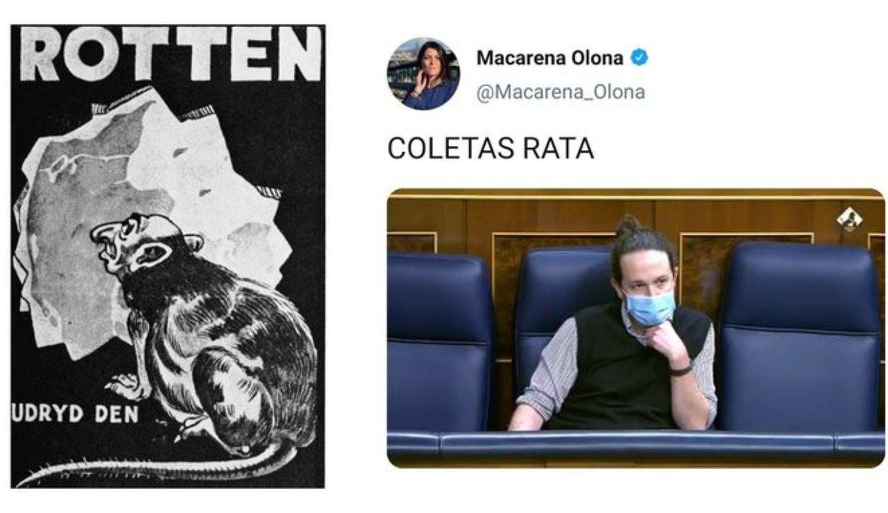 """Podemos compara el """"rata"""" de Vox sobre Pablo Iglesias con la propaganda nazi"""