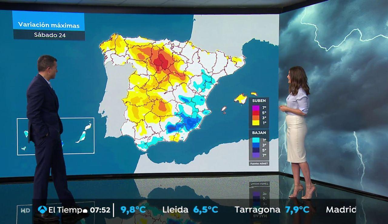 La previsión del tiempo hoy: Disminuyen las lluvias y suben las temperaturas antes de la borrasca Lola