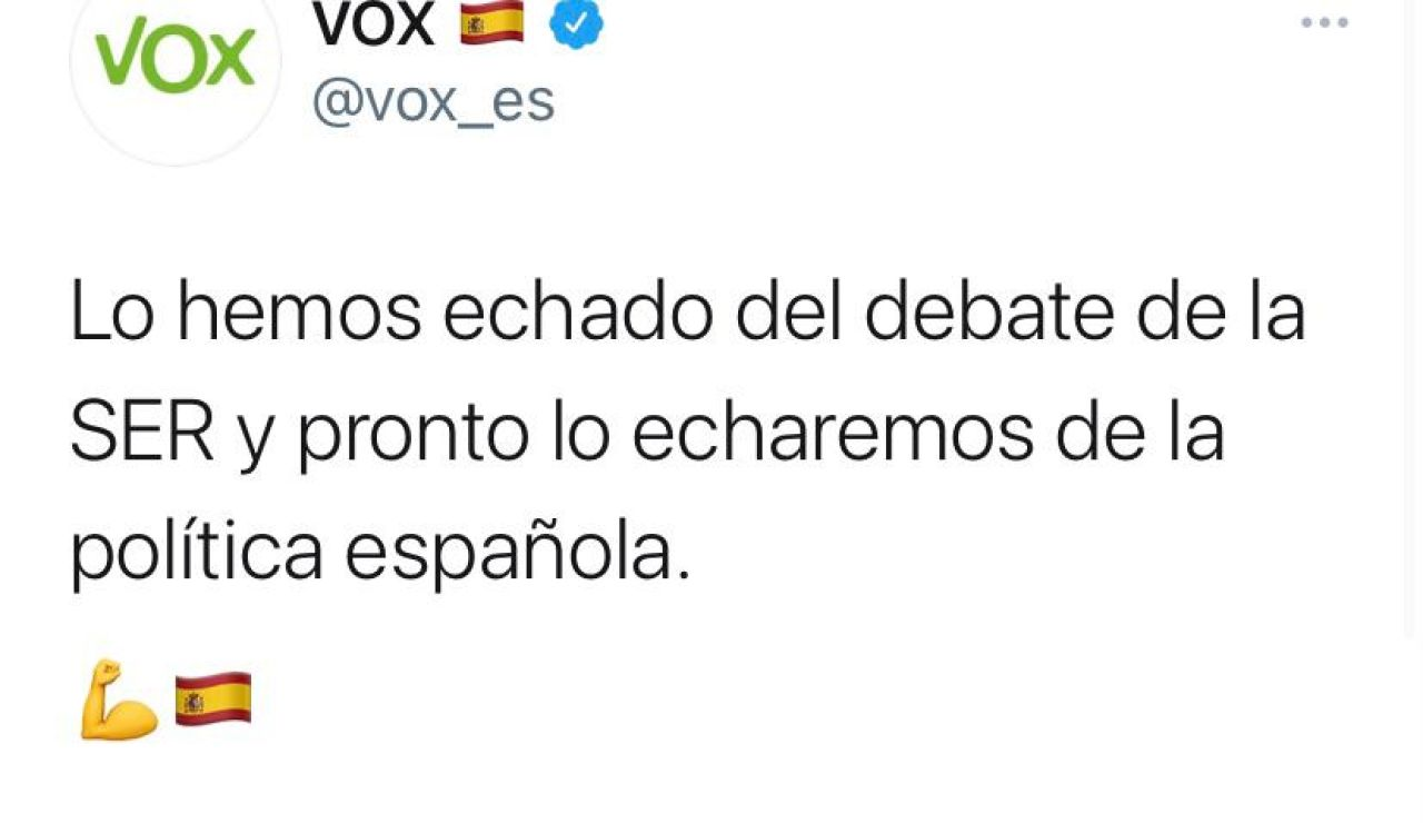 Santiago Abascal y Rocío Monstaerio presumen de haber echado a Iglesias del debate de la SER