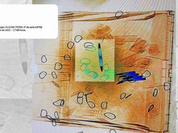 La imagen del escáner con las balas para  Marlaska, Iglesias y Gámez