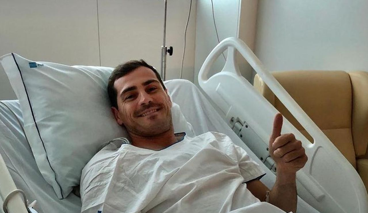 Iker Casillas en el hospital tras su infarto de miocardio