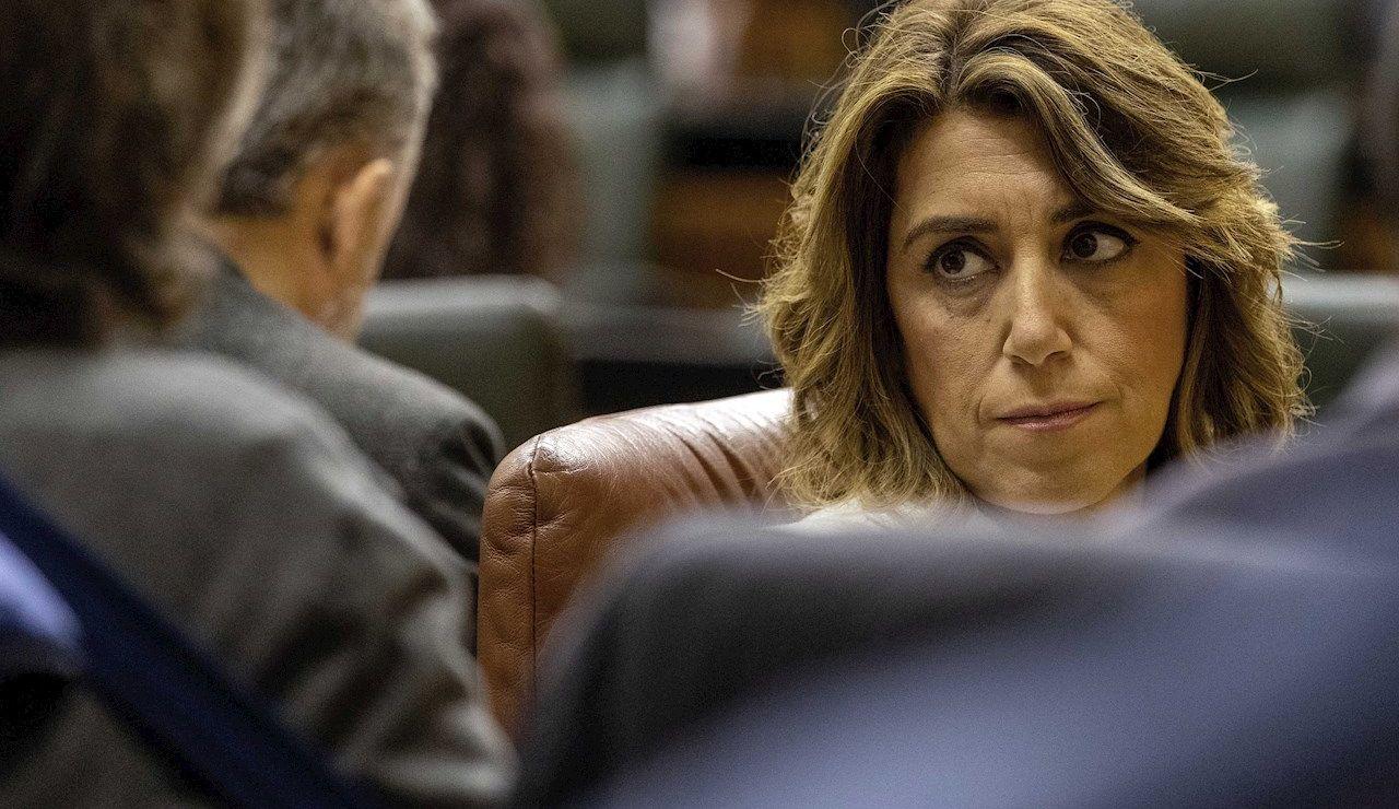 a presidenta del grupo parlamentario socialista, Susana Díaz, al inicio del debate final del proyecto de Ley de Presupuestos de Andalucía para el 2020