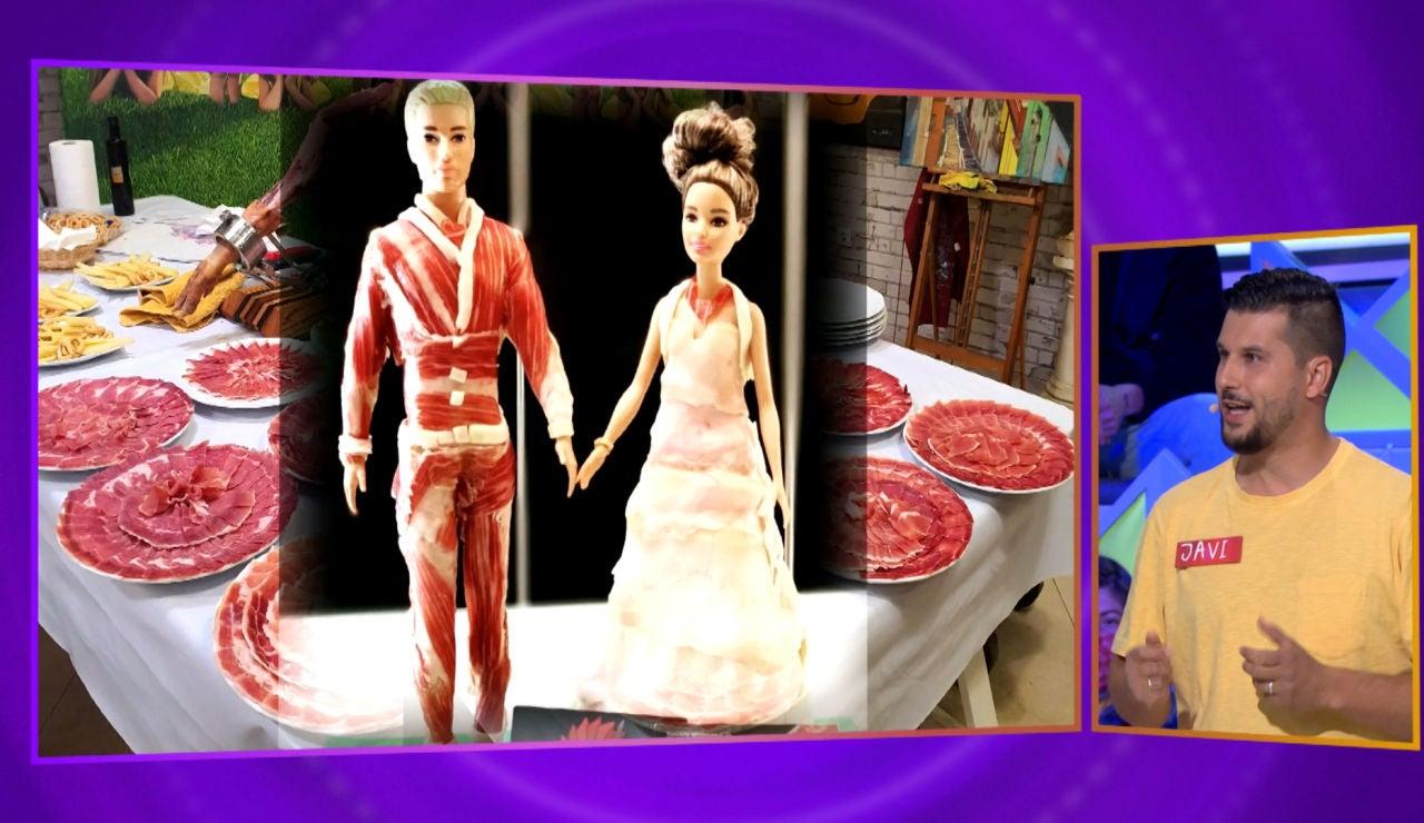 Las impresionantes figuras de un concursante de 'La ruleta de la suerte' hechas… ¡de jamón!