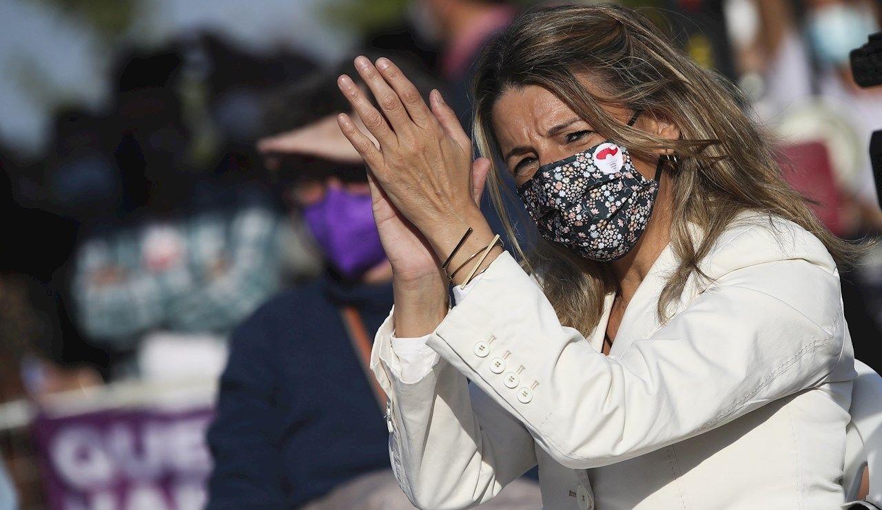 La ministra de Trabajo, Yolanda Díaz, durante el acto de cierre de campaña que Unidas Podemos
