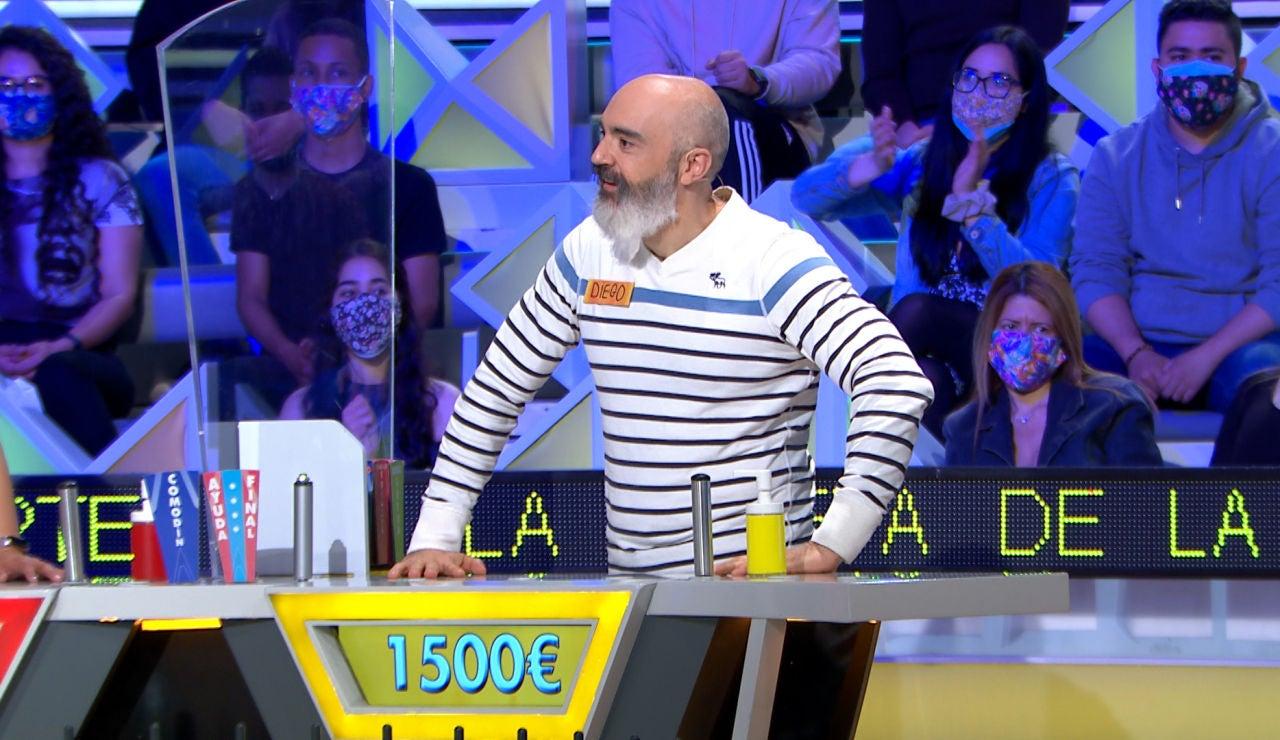 La gran inteligencia de Diego en 'La ruleta de la suerte': suma 1.500€ sin decir ninguna consonante