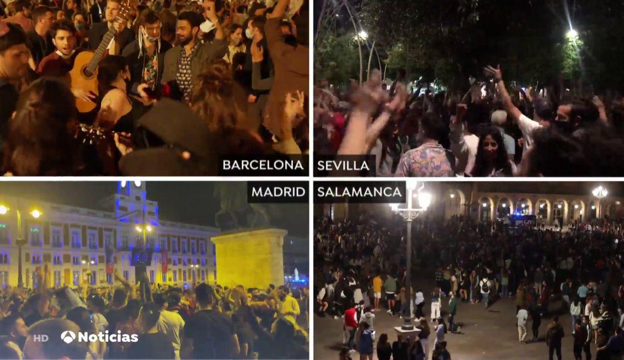 Miles de personas salen a las calles para festejar el fin del estado de alarma