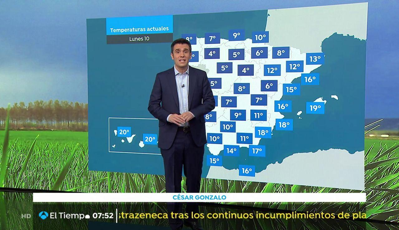 La previsión: Temperaturas en descenso con lluvias fuertes en Galiaia y Cataluña
