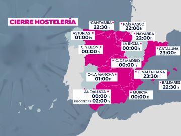 Mapa de restricciones vigentes tras el fin del estado de alarma en cada comunidad autónoma