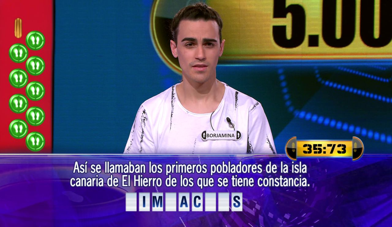 ¿Será en esta? Una pregunta y 36 segundos separan a Borja de 5.000 euros en el Duelo Final de '¡Ahora caigo!'