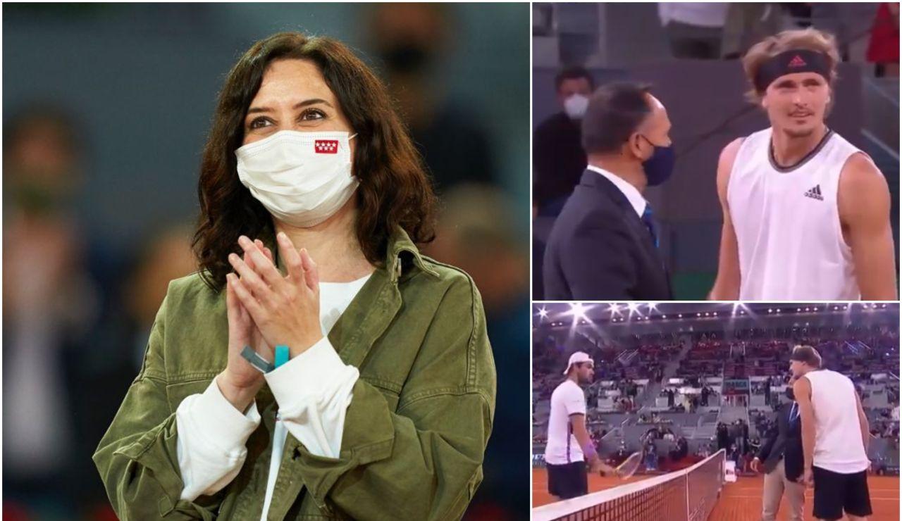 """La gran ovación de la Caja Mágica a Isabel Díaz Ayuso y la reacción viral de Zverev: """"¿Quién es esa?"""""""