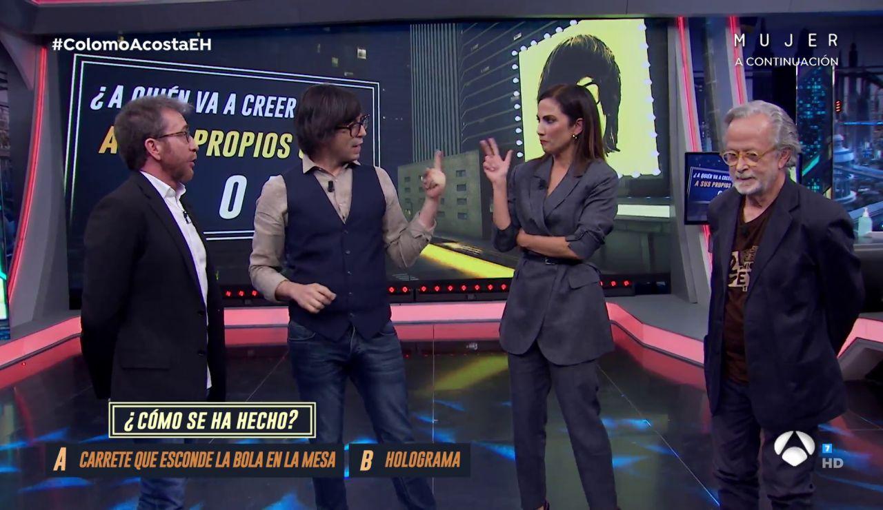 Luis Piedrahita 'engaña' a Toni Acosta y Fernando Colomo con sus trucos de magia