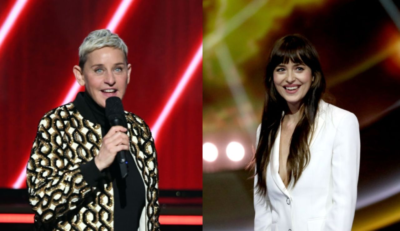 Ellen DeGeneres y Dakota Johnson
