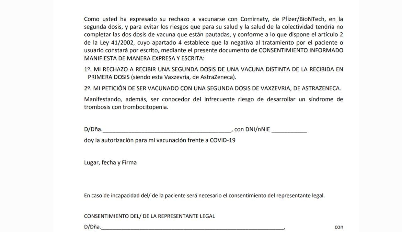 Documento de consentimiento para recibir la segunda dosis de AstraZeneca en PDF