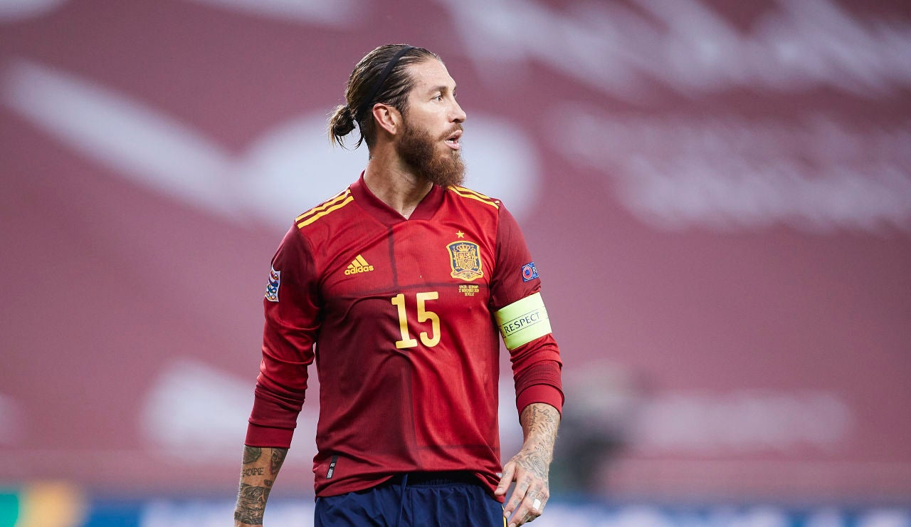 Sergio Ramos, en un partido con España
