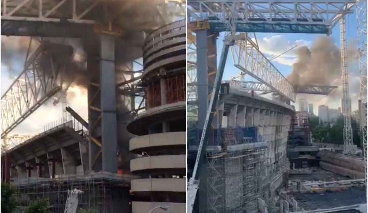 Incendio en las obras del estadio Santiago Bernabéu