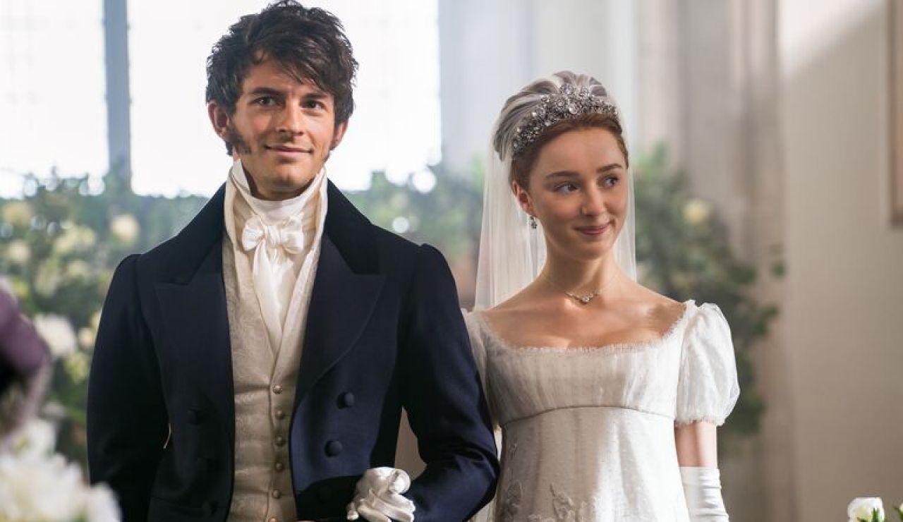 Jonathan Bailey y Phoebe Dynevor como Anthony y Daphne Bridgerton
