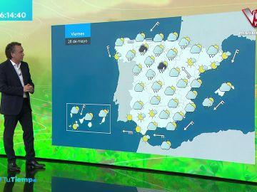 La previsión del tiempo hoy: Suben las temperaturas en la mitad norte con chubascos en el sudeste