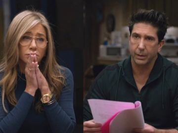 Jennifer Aniston y David Schwimmer en la reunión de 'Friends'