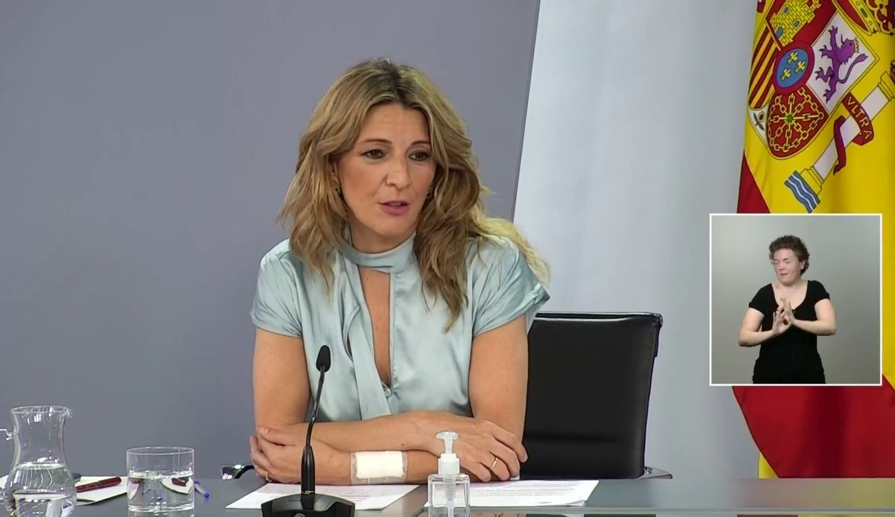 """Yolanda Díaz, tras la prórroga de los ERTE: """"Hoy muchas familias van a dormir tranquilas"""""""