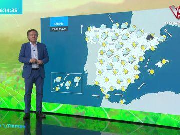 La previsión del tiempo hoy: Cielos nubosos con lluvias en el Cantábrico, sistema central y Pirineos