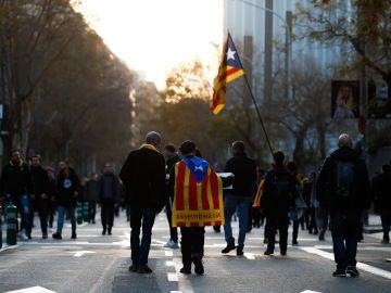 Manifestantes pro-Independencia en Barcelona