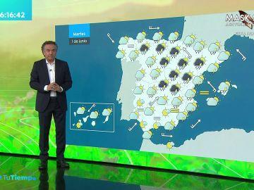La previsión del tiempo hoy: Lluvias fuertes en el interior de Galicia y área central