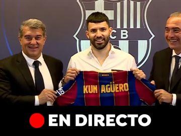 Presentación del Kun Agüero con el Barcelona