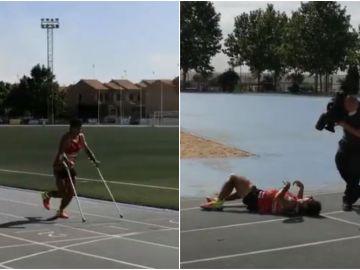 El toledano Christian López bate el récord Guinness de la milla más rápida con muletas