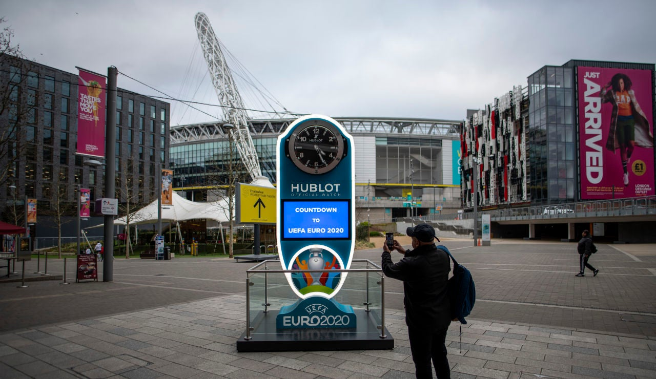 El estadio de Wembley, sede de los partidos de la Euro y que albergará las semifinales y la final