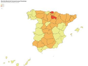 Consulta en el siguiente mapa el nivel de alerta frente al coronavirus en cada provincia de España