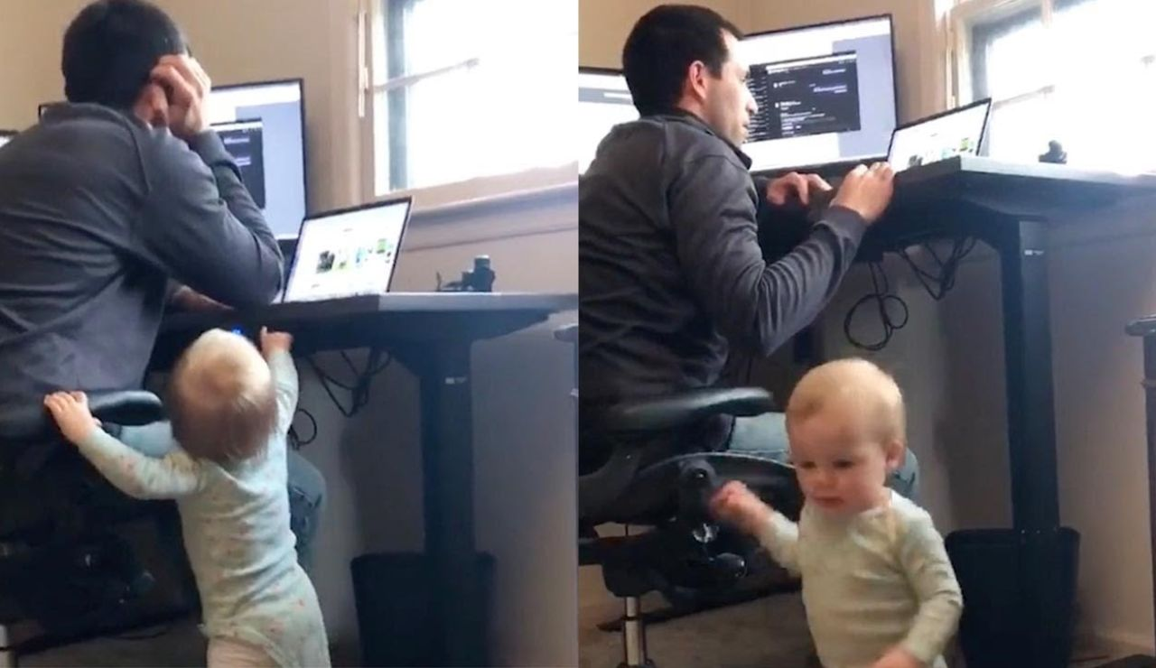 Bebé molestando a su padre