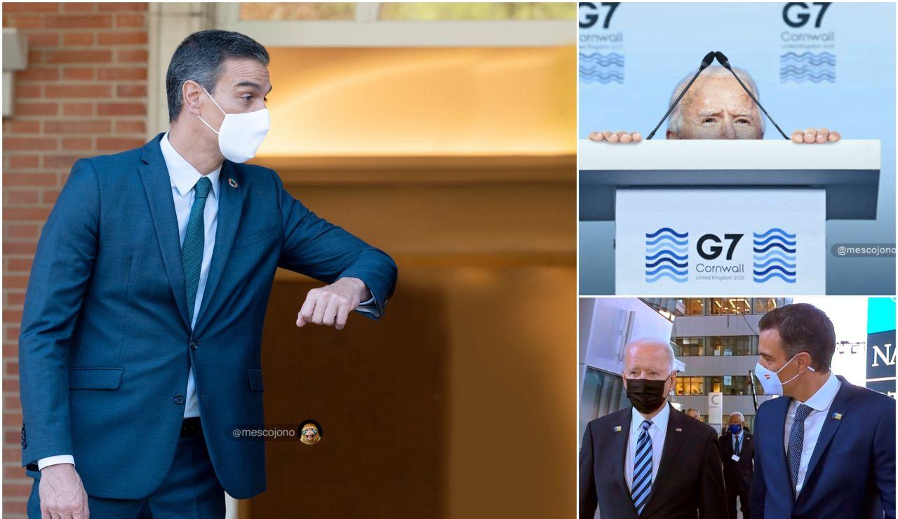 Los mejores memes del breve encuentro entre Pedro Sánchez y Joe Biden