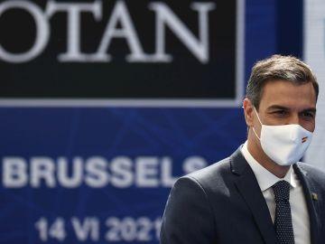 Pedro Sánchez a su llegada a la cumbre de la OTAN en Bruselas
