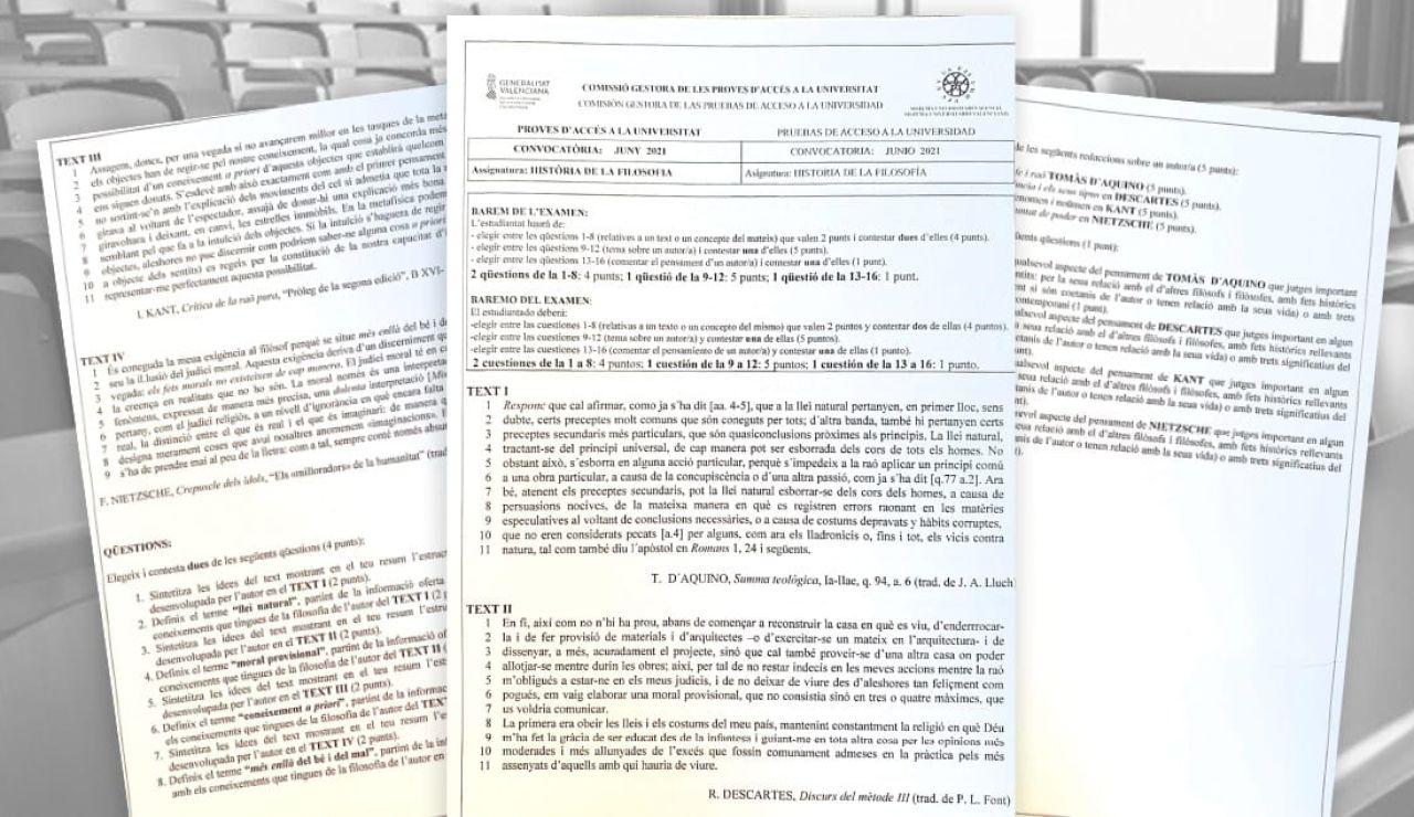 El examen de Filosofía de la Evau 2021 que han suspendido el 90% de los estudiantes valencianos corregidos por un tribunal