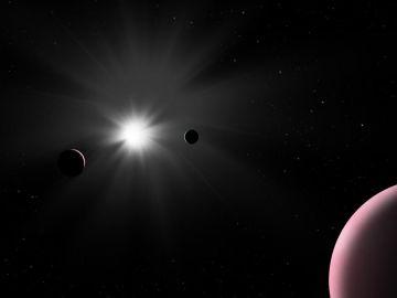 Impresión artística del sistema planetario Nu2 Lupi.