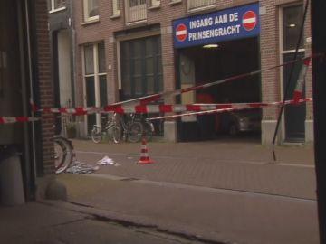 Imagen del lugar del tiroteo al periodista de Ámsterdam