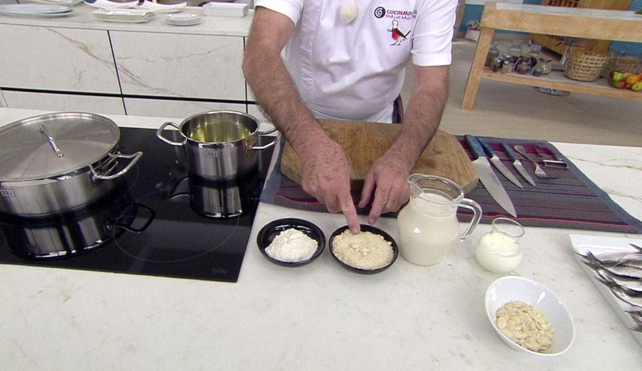 Karlos Arguiñano realiza una bechamel sin grasa: con harina y leche de almendra