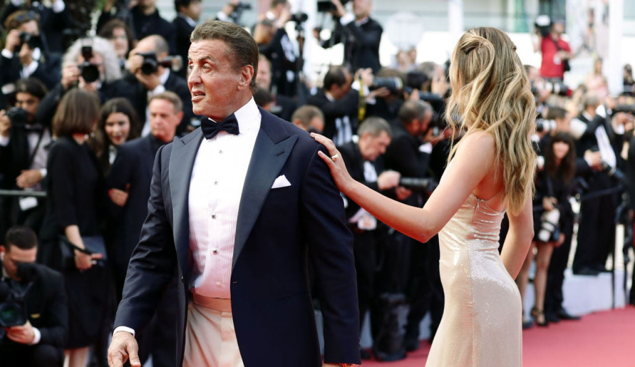 Sylvester Stallone junto a su hija Sistine en Cannes