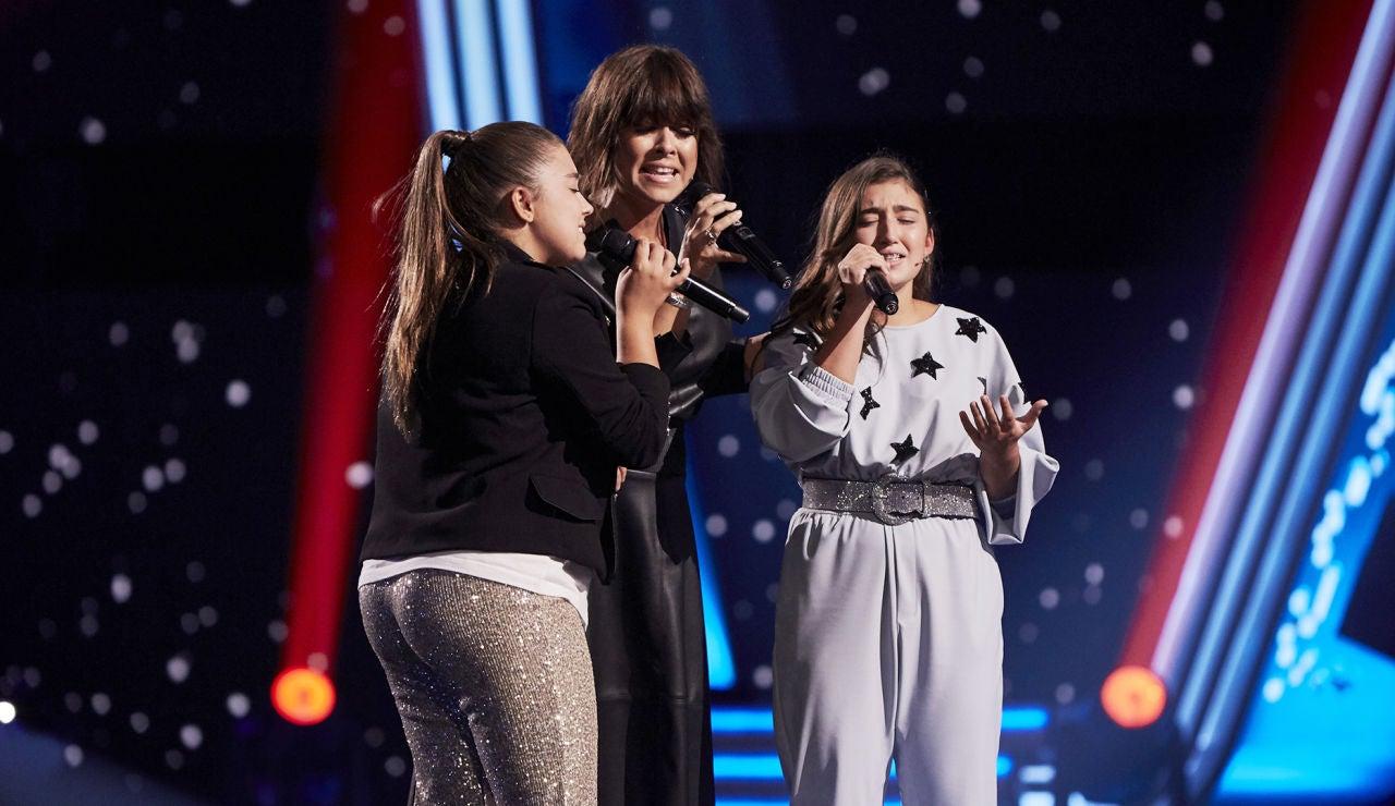 Vanesa Martín cumple el sueño de las hermanas Avilés: las tres juntas cantan 'Polvo de mariposas' en 'La Voz Kids'