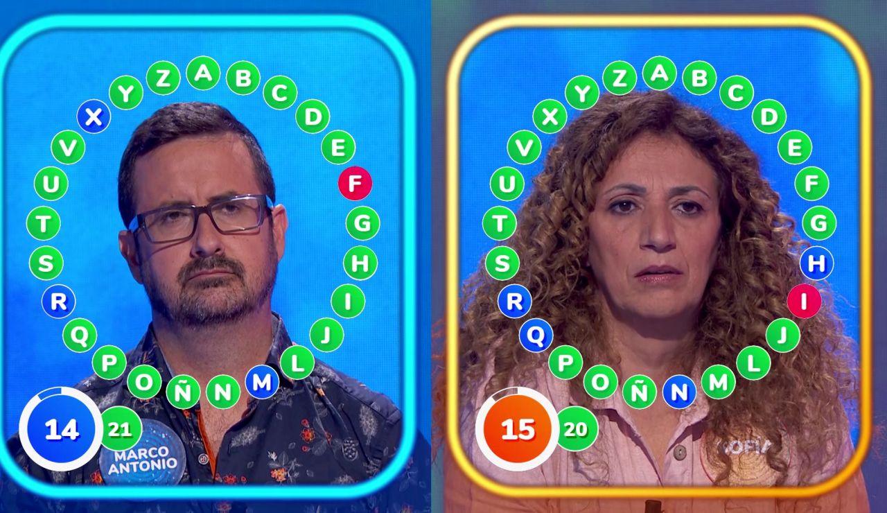 Dos rápidos fallos protagonizan un intenso e igualado duelo entre Marco Antonio y Sofía: ¿Quién ganará 'El Rosco'?