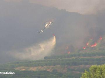 Declarado un incendio forestal que ha obligado a desalojar dos urbanizaciones en Rafelguaraf, Valencia