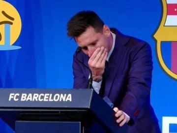 Messi, en la rueda de prensa de su despedida