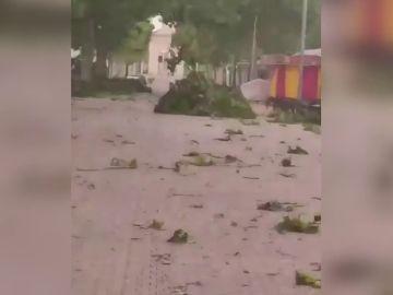 Fuertes rachas de viento huracanado en una tormenta de arena en Albacete