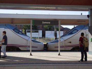 Un incendio forestal corta el tráfico viario Zamora-Orense y deja un tren parado casi dos horas