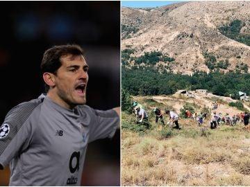 Iker Casillas se vuelca en las labores de extinción del incendio de Ávila