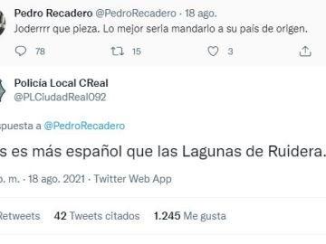 """El 'zasca' de la Policía Local de Ciudad Real a un comentario racista: """"Es más español que las Lagunas de Ruidera"""""""