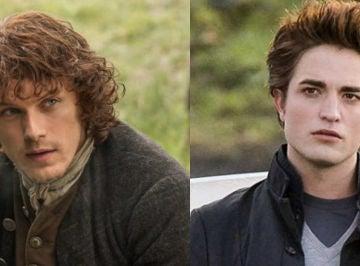 Sam Heughan y Robert Pattinson como Jamie Fraser y Edward Cullen