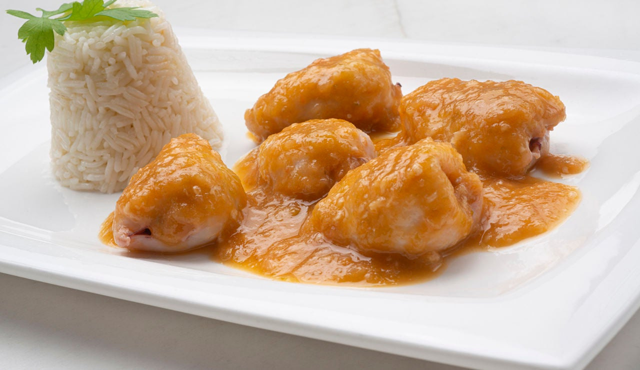Receta de chipirones en salsa de cebolla con arroz, de Karlos Arguiñano