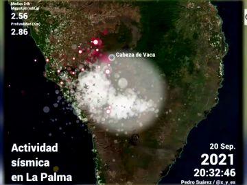 La imagen que muestra cómo evoluciona la actividad sísmica y la erupción del volcán de La Palma