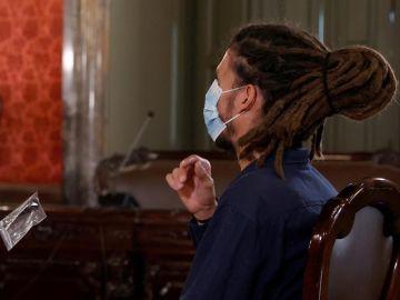 El exsecretario de Organización de Podemos y diputado Alberto Rodríguez, durante su juicio en el Tribunal Supremo este martes.
